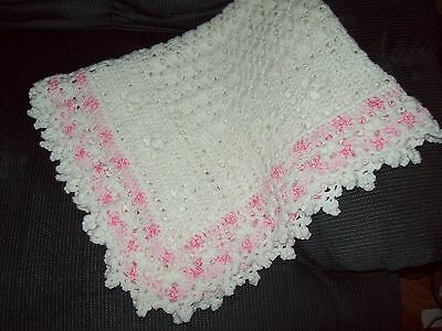 Boutique Crochet White and Pink Baby Girl Afghan Christening Blanket
