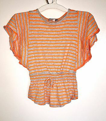 LQQK Speechless Girls Striped Batwing T-Shirt Top Gray Orange sz M EUC