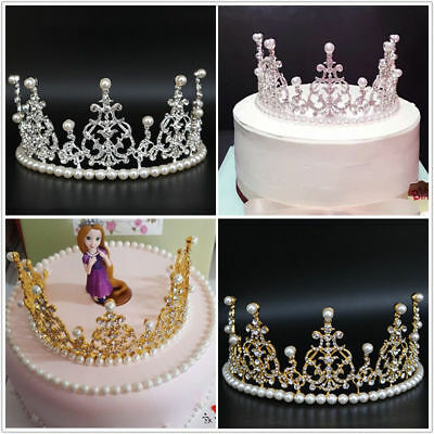 Birthday Cake Pearl Rhinestone Crown Decorating Bride Tiaras Party Accessories
