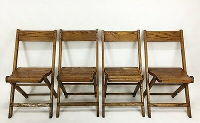 Vintage Antique Snyder Wood Oak Wooden Folding Chairs Set of 4
