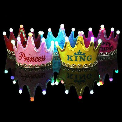 Children LED Light Birthday Party Hats Crown Princess Birthday Party Cap Kids