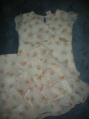 MaryKate and Ashley Girls Sz 4 2pc Outfit Roses Flowers Ruffle Skirt & Top EUC