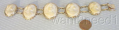 fine antique 14K LAVA CAMEO BRACELET solid yellow gold & high relief goddess 40g