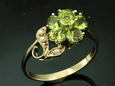C687-Genuine 9ct Solid Gold Natural Peridot & Pearl Blossom Ring in your size