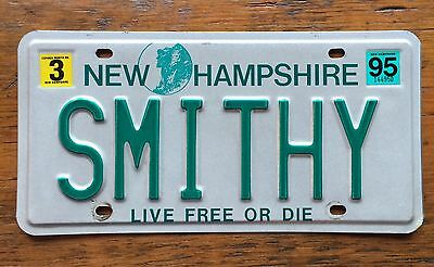 1995 NEW HAMPSHIRE VANITY License Plate Tag  95 NH SMITHY Smith Smitty