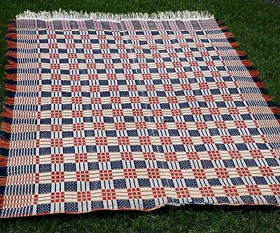 ANTIQUE VINTAGE WOOL RED , BLUE AND CREAM HAND WOVEN COVERLET BLANKET 1800's