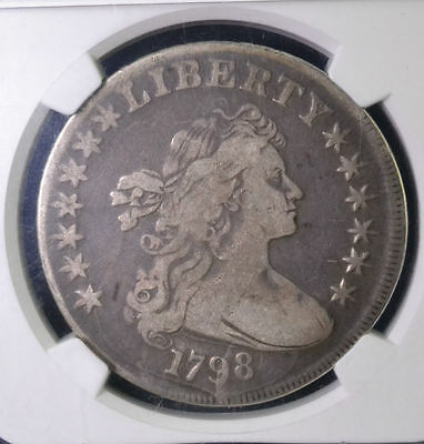 1798 $1 Draped Bust Large Eagle Dollar NGC VF Details Rev Damage 3703129-002