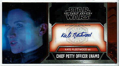 2017 Topps Star Wars Force Awakens 3D Kate Fleetwood Autograph Auto Chief Unamo