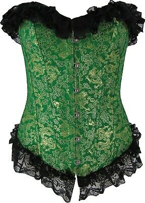 Green Dragon Corset Top Bustier Fully Boned Embroidery Lace up Cosplay Shaper