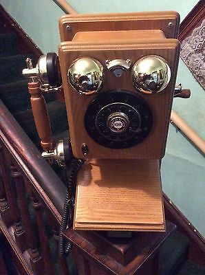 """Vintage """"SPIRIT OF ST LOUIS"""" Wood Wall Mount Antique Replica of Rotary Telephone"""