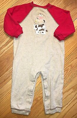 Baby Boys Hartstrings One Piece Long Sleeve Farm Cow Outfit Size 18 Months
