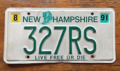 1991 NEW HAMPSHIRE VANITY License Plate NH 91 327RS 327 Chevy Camaro