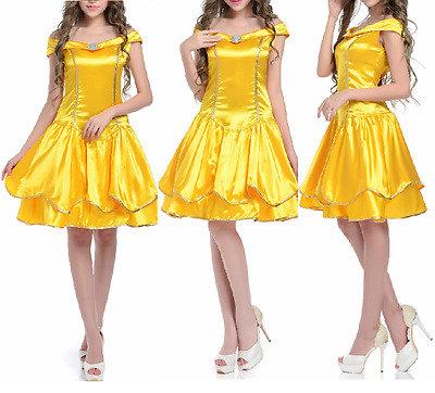 Adult Princess Belle Costume Beauty and The Beast Fancy Dress Cosplay Mini Dress