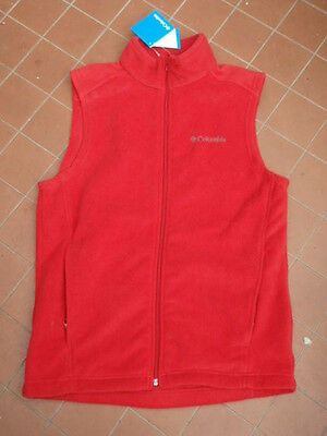 COLUMBIA Men's Red Polar Fleece Vest Size S New With Tags