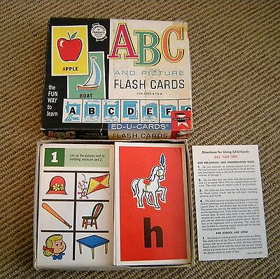 Vintage 1963 ABC and Picture Ed-U-Cards Flash Cards in Box Alphabet 60's