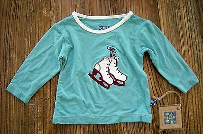 NWT Kickee Pants Long Sleeve Tee Top Glacier Ice Skates Applique 3-6 months READ