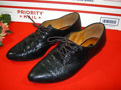 Womens Ecco Brand Black Leather Oxford Shoes Size 39 8.5 Us