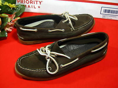 Women's Sperry Topside 8.5 Brown Suede Leather  Boat Shoes