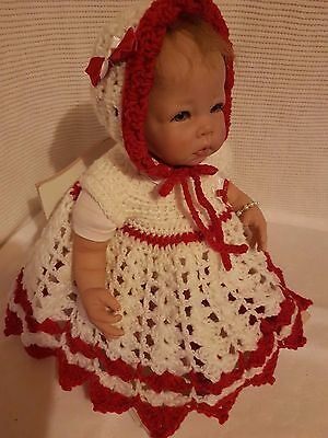 "NEW~RED & WHITE ~ Hand Crochet ~Reborn Doll Dress Set for a 20""-22"" Doll"