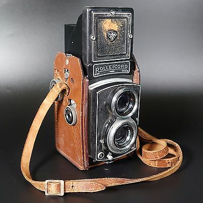 Outstanding Vintage ROLLEICORD Antique German Camera w/ Leather Case DRP/DRGM
