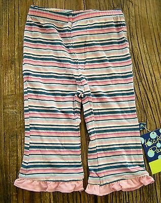 NWT New Kickee Pants Girl Sailaway Stripe Ruffle Pants Bamboo 3-6 mos