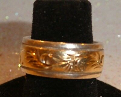 Vintage Sterling and 10K Yellow Gold Ladies Wide Band