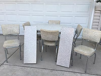Vintage Dinette / Kitchen Table with 6 chairs and 2 Leafs 1950's Douglas