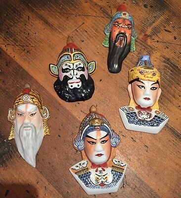Chinese Masks Porcelain Orient Crafts - 5 Mounted Masks Wall Decor 1984 opera