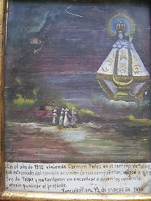 Antique Exvoto/retablo On Tin With A Group Of People Thanking Our Lady De Talpa