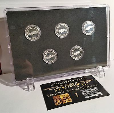 Set of 5 x 1/10th oz 999 Pure Silver MCS 2 Coins in display stand and C.O.A.