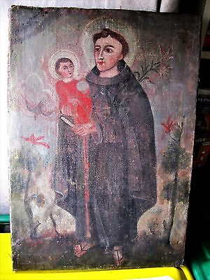 Antique Original Oil Painting On Canvas Saint Anthony Unframed Great Shape