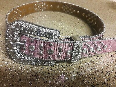 Girl's Pink Glitter Bling rhinestone Lucky horseshoe Western Belt & Buckle Set