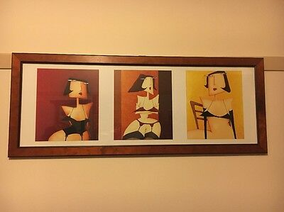 Retro, Quirky Wall Hanging, Framed Artwork. Cartoon Woman In Lingerie.