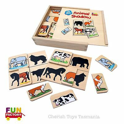 Educational Wooden Animal Shadow Matching Puzzle Game Kids Eco Friendly Toy Gift