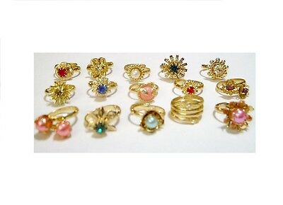 Vtg 60s Big LOT Brass METAL Glass Rhinestone RINGS jewelry filigree Cracker Jack