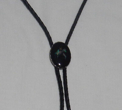 Black lariat necklace with opal chips shaped horse head