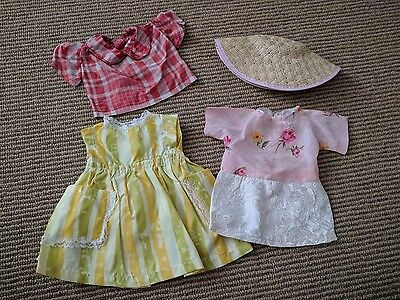 "Vtg 60's Doll Clothes Lot Chubby 13"" 14"" Doll Silk Rose Dress Plaid Blouse Hat"