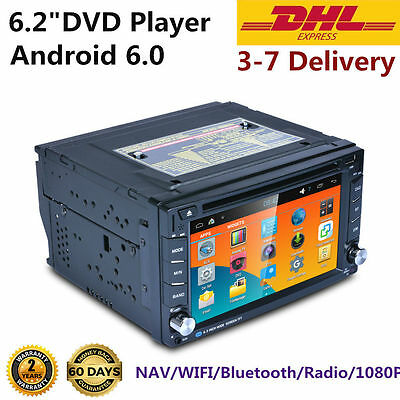 """6.2""""HD Android 6.0 2 Din Car Stereo GPS DVD Player Bluetooth Radio 3G WiFi RG"""