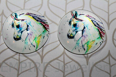 1 x Stunning Unicorn 2x25mm Glass Dome Cabochon Cameo Horse Pony Fairy