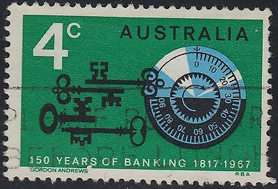 "1967 4c Banking variety ""spot between R and S"", used"
