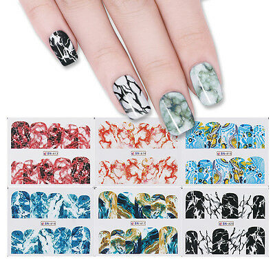 12 Patterns Nail Water Decals Colorful Manicure Nail Art Transfer Stickers Decor