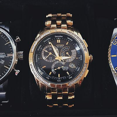 Citizen Mens Gold Stainless Steel Eco-Drive Diamond Perpetual Watch