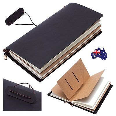 Retro Real Leather Personality Journal Notepads Binder Blank Diary Notebook AU