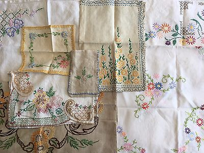 Vintage Hand Embroidered Tablecloth Linen Tray Cloth Fabric Textile Bundle Lot