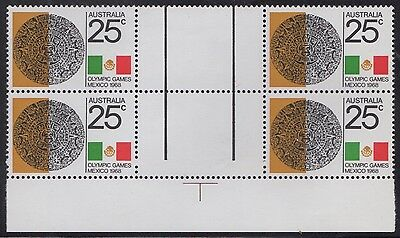 1968 Mexico Olympics 25c bottom gutter block of 4, mnh