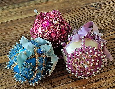 Vtg Set of 3 Fancy Beaded Sequin Satin Christmas Ornaments Pink Lilac Blue Gold
