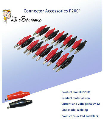 10 pairs Black + Red Soft Plastic Coated Testing Probe Clips Crocodile P2001 New