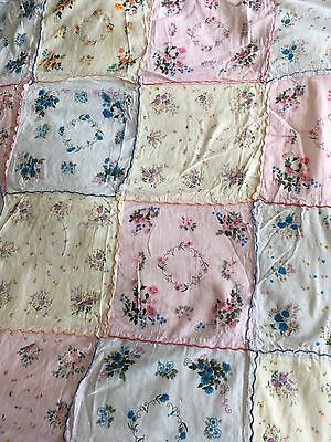 Vintage Pretty Pastel Floral Patchwork Hanky Tablecloth Flower Fabric