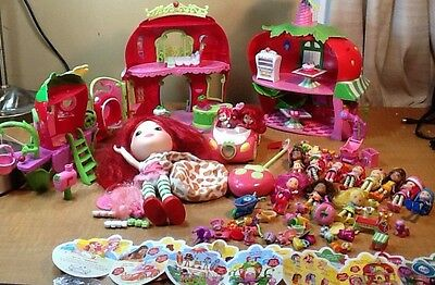 HUGE Lot of STRAWBERRY SHORTCAKE Toys Play Sets & Dolls Cafe House Salon Car +