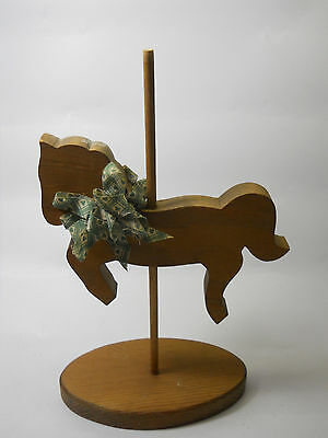 Vintage Carved Wood Carousel Horse Pony on Base Statue Figurine